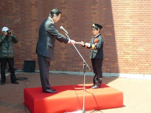 10分の1戦艦「大和」1日子ども艦長任命式